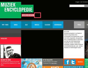 Main page screenshot of muziekencyclopedie.nl