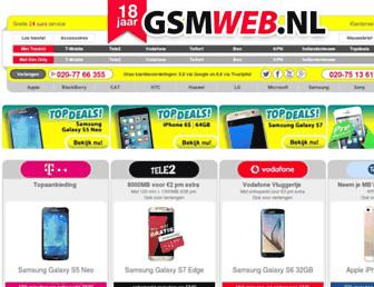 Main page screenshot of gsmweb.nl