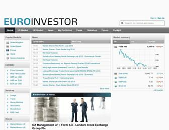 Main page screenshot of euroinvestor.co.uk