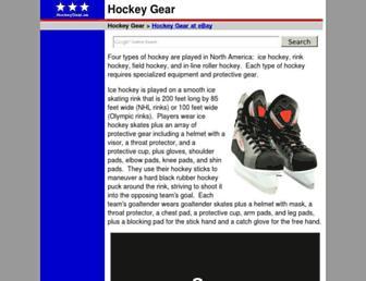 Main page screenshot of hockeygear.us