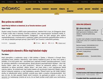 Main page screenshot of zvedavec.org