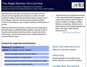Main page screenshot of anglo-norman.net