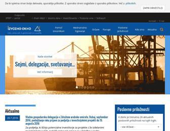 Main page screenshot of izvoznookno.si