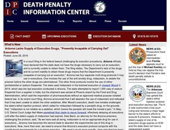 Main page screenshot of deathpenaltyinfo.org