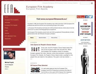 Main page screenshot of europeanfilmacademy.org