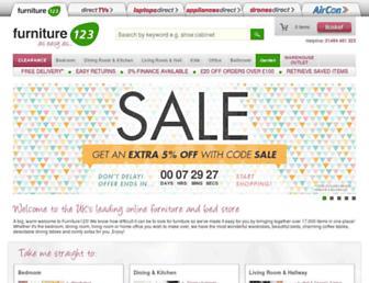 Main page screenshot of furniture123.co.uk