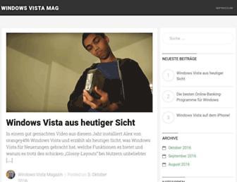 Main page screenshot of windowsvistamagazin.de