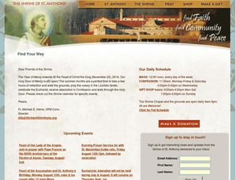 shrineofstanthony.org screenshot
