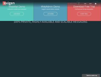 Main page screenshot of axigen.ro