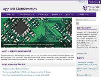 Main page screenshot of apmaths.uwo.ca