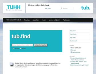 Main page screenshot of tub.tu-harburg.de