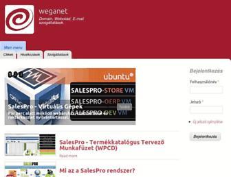 Main page screenshot of weganet.hu