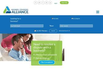 Main page screenshot of businessconsumeralliance.org