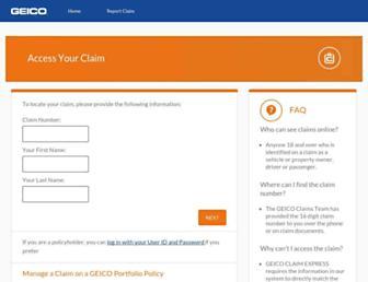 claims.geico.com screenshot