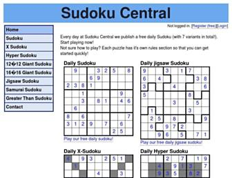 sudokucentral.co.uk screenshot