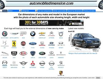 automobiledimension.com screenshot