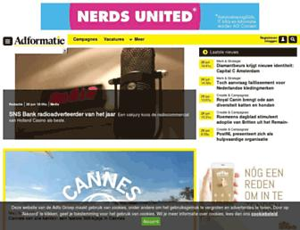 Main page screenshot of adformatie.nl