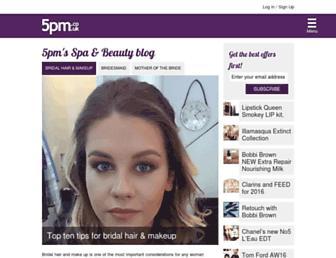 Main page screenshot of healthandbeautyblog.5pm.co.uk