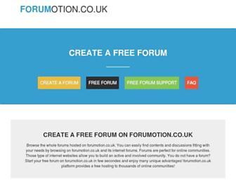 Main page screenshot of forumotion.co.uk
