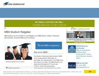 Main page screenshot of mba-studium.net