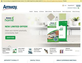 Main page screenshot of amway.co.za