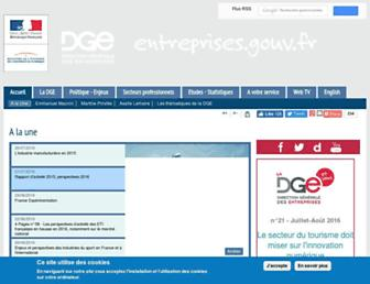 Main page screenshot of entreprises.gouv.fr