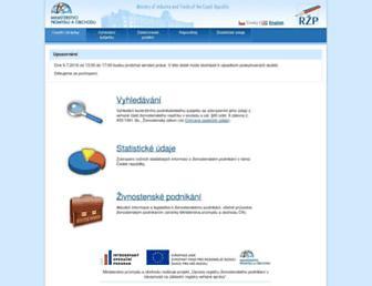 Main page screenshot of rzp.cz