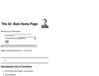 Main page screenshot of dr-bob.org