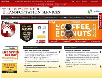Main page screenshot of transportation.umd.edu