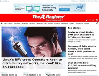 Main page screenshot of theregister.co.uk