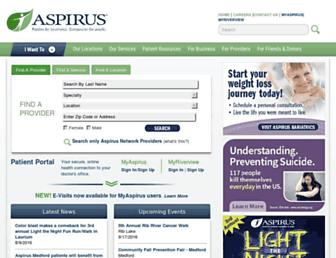 Main page screenshot of aspirus.org