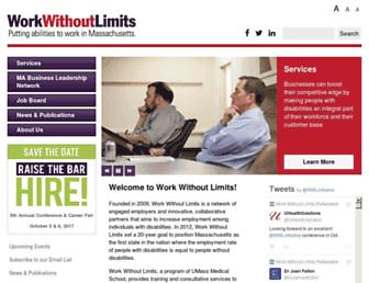 Main page screenshot of workwithoutlimits.org
