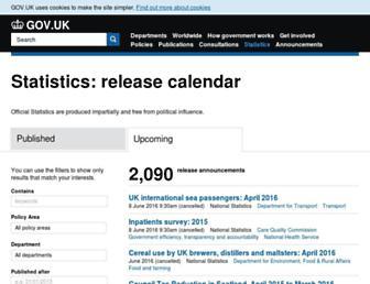Main page screenshot of statistics.gov.uk