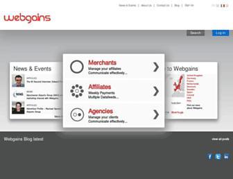 Main page screenshot of webgains.it