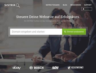 Main page screenshot of sistrix.de