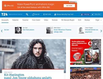 Main page screenshot of t24.com.tr