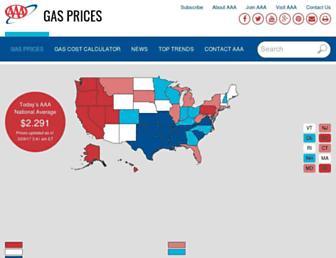 gasprices.aaa.com screenshot