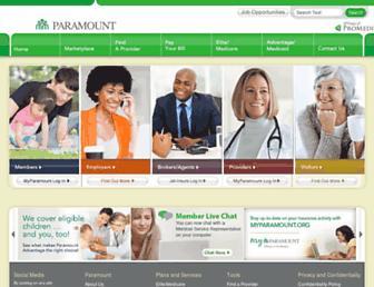 paramounthealthcare.com screenshot