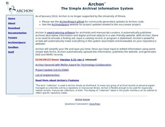 Main page screenshot of archon.org