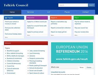 Main page screenshot of falkirk.gov.uk