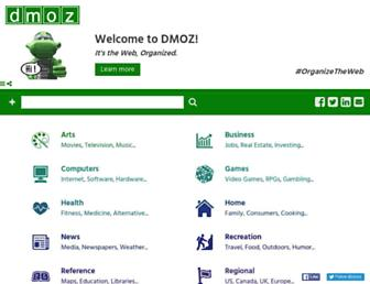 Main page screenshot of dmoz.org