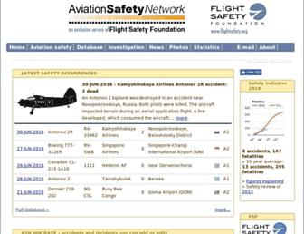 Main page screenshot of aviation-safety.net