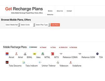 getrechargeplans.in screenshot