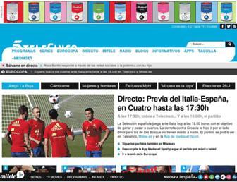Main page screenshot of telecinco.es