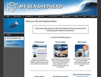 Main page screenshot of my.seashepherd.org