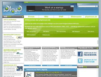 Main page screenshot of phpforum.de