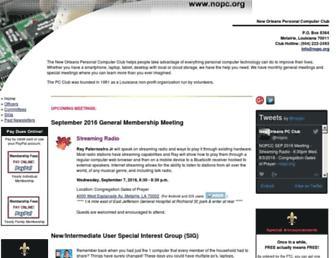 Main page screenshot of nopc.org