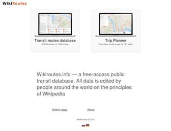 Main page screenshot of wikiroutes.info