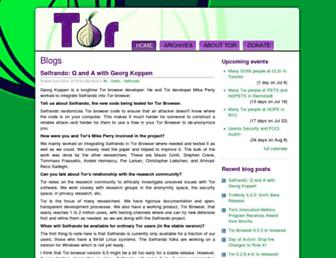 Main page screenshot of blog.torproject.org