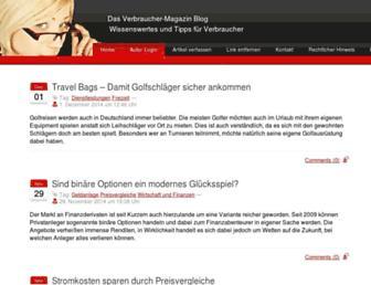 Main page screenshot of verbraucher-magazin.info